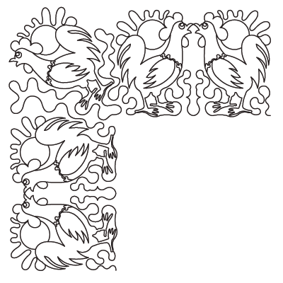 Roosters Doubled Border Corner - Digital cc-PANTO802C_DIGITAL