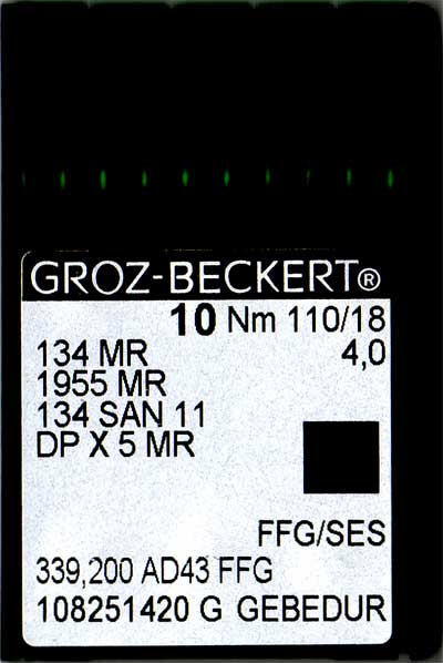 Groz-Beckert  #18 Needle - 134 SAN 11 MR - 18/110 FFG - (4.0) Titamium V00592-0910